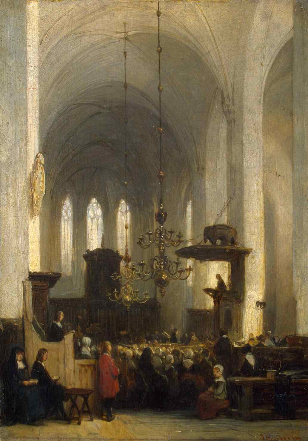 In the Church by Johannes Bosboom, between 1840 and 1846