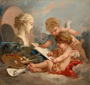 Cupids, Allegory of Painting by Francois Boucher, 1760s